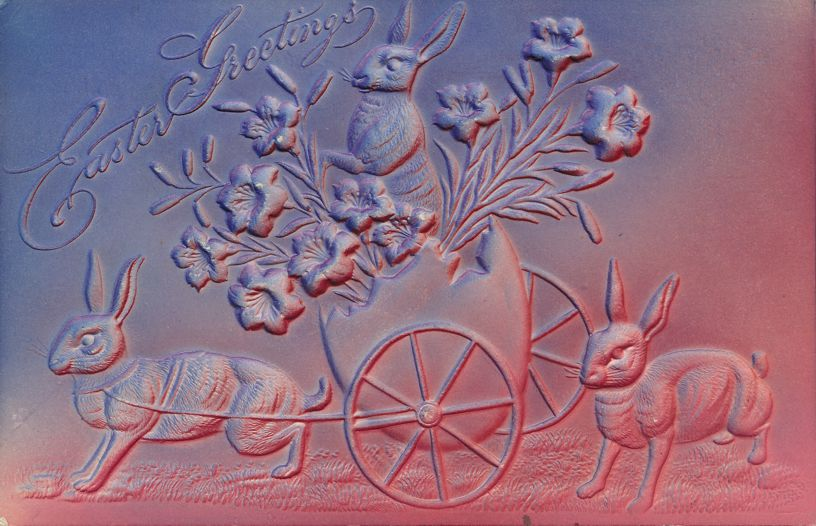Easter Greetings - Rabbits towing Egg Wagon of Flowers and Bunny - pm 1908 at Sheridan NY - Divided Back