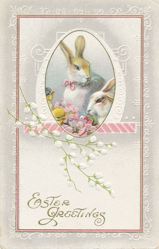 Easter Greetings - Rabbits - Bunnies - Spring Flowers - pm 1913 at Thiells NY - Divided Back