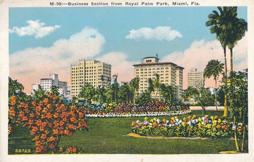 Miami, Florida - Business Section from Royal Palm Park - White Border