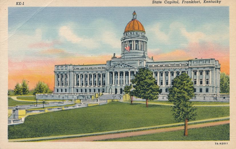 Capitol Building in Frankfort, Kentucky - Dome Replica of Napoleon's Tomb - Linen Card