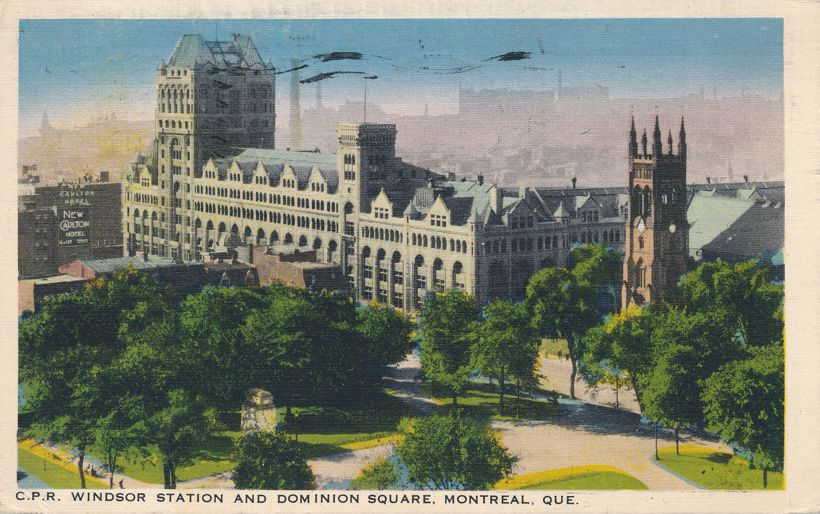 CPR Windsor Railroad Station and Dominion Square - Montreal, Quebec, Canada - pm 1938 at Quebec QC