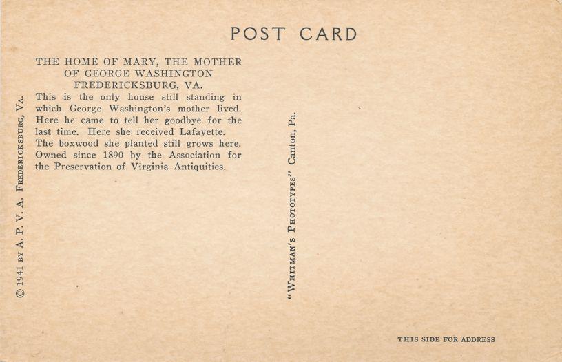 Fredericksburg, Virginia - Home of Mary - Mother of George Washington