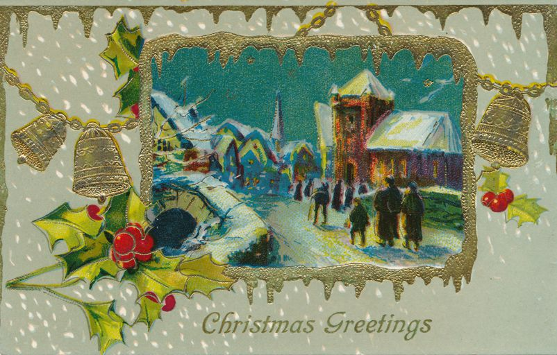 Christmas Greetings - Church Scene - Bells and Holly - Divided Back