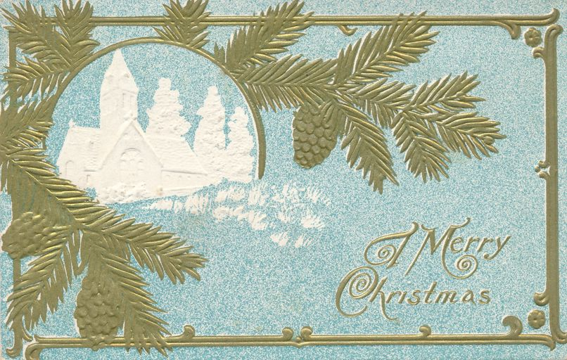 Christmas Greetings - Pine Branches and Church - Divided Back