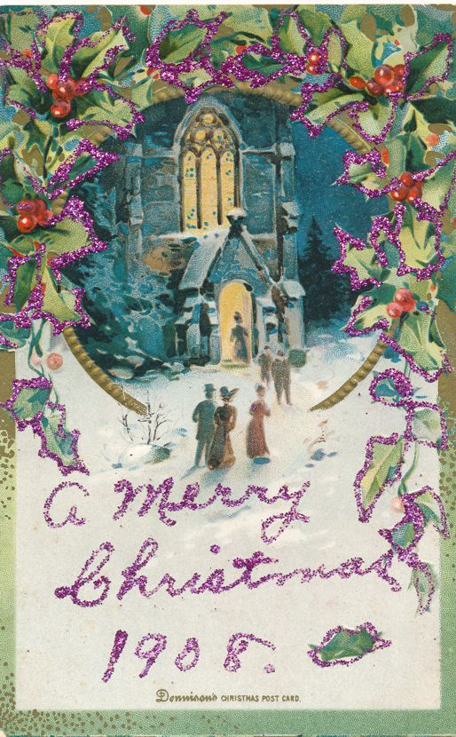 Christmas Greetings - People at Church 1908 Dennison Postcard - Divided Back