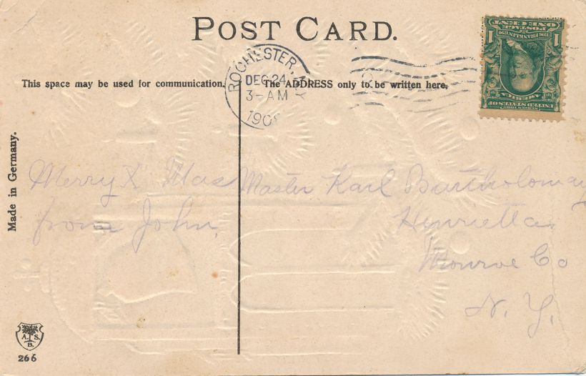 Christmas Greetings - Bell and Church Doors - Christmas Day - ASB - pm 1908 at Rochester NY - Divided Back