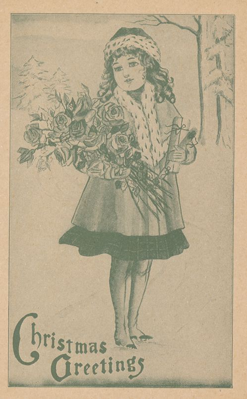 Christmas Greetings - Girl with Bouquet of Flowers - Divided Back