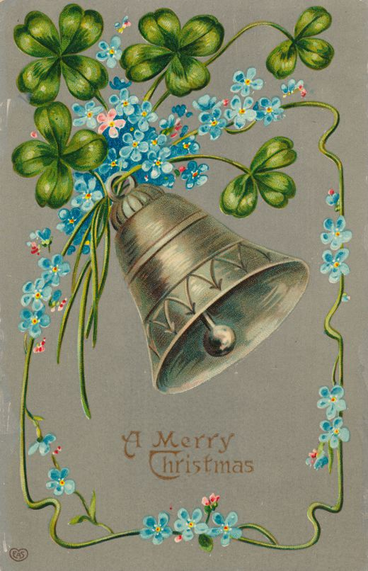 Christmas Greetings - Bell and Flowers - EAS - Divided Back