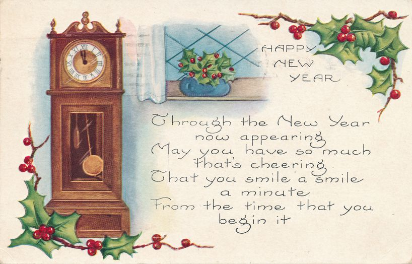 New Years Day Greetings - Grandfather Clock - pm 1922 at Buffalo - Whitney Made - Divided Back
