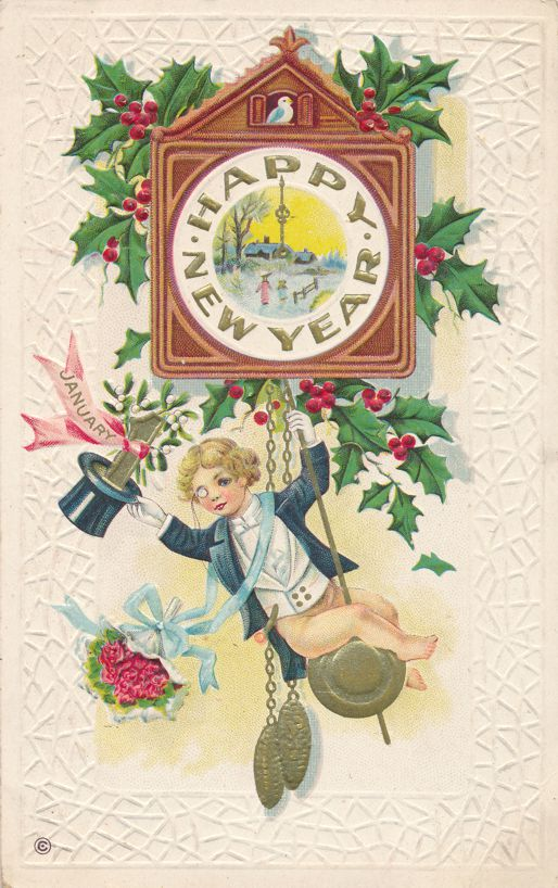New Years Day Greetings - Cuckoo Clock - Mistletoe and Holly - pm 1916 at Millville DE - Divided Back