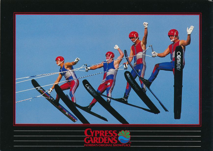 (2 cards) Cypress Gardens, Florida - Water Skiers - Ski Jumpers