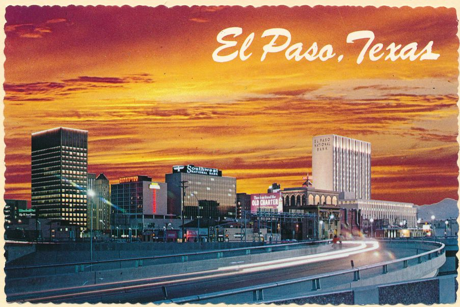 El Paso, Texas - Freeway and Skyline at Sunset