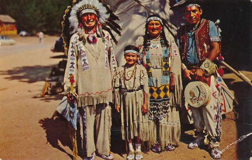 Native Amerian Indian Chief Running Horse with Family - pm 1961 at Everett WA