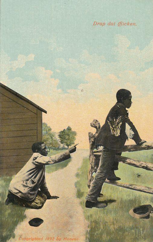 Black Americana Humor Caricature - Drop Dat Chicken - Florida Souvenir - Divided Back