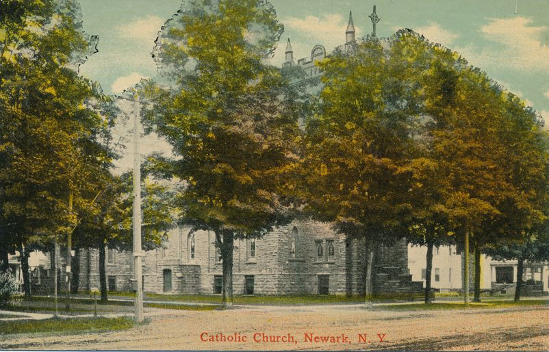 Newark, New York - Catholic Church - pm 1921 at Marion NY - Divided Back