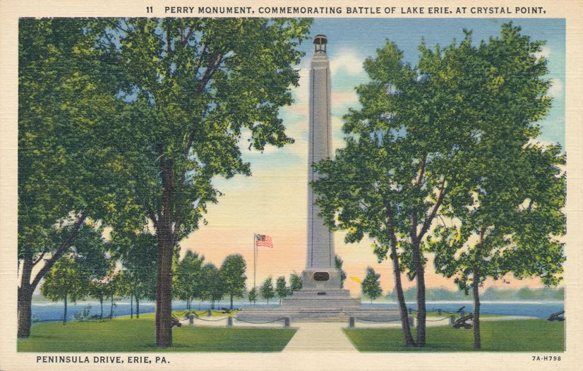 Perry Monument - Battle of Lake Erie - Crystal Point, Erie, Pennsylvania - Linen Card