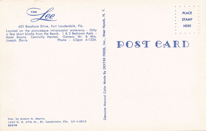 Fort Lauderdale, Florida - The Lee Hotel - Motel - on Bayshore Drive