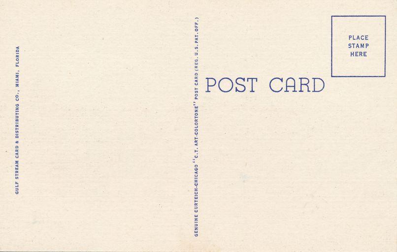 Fort Lauderdale, Florida - Hendricks Island in City of South Sea Islands - Linen Card