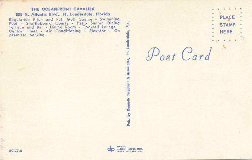 Fort Lauderdale, Florida - Oceanfront Cavalier Hotel on North Atlantic Blvd