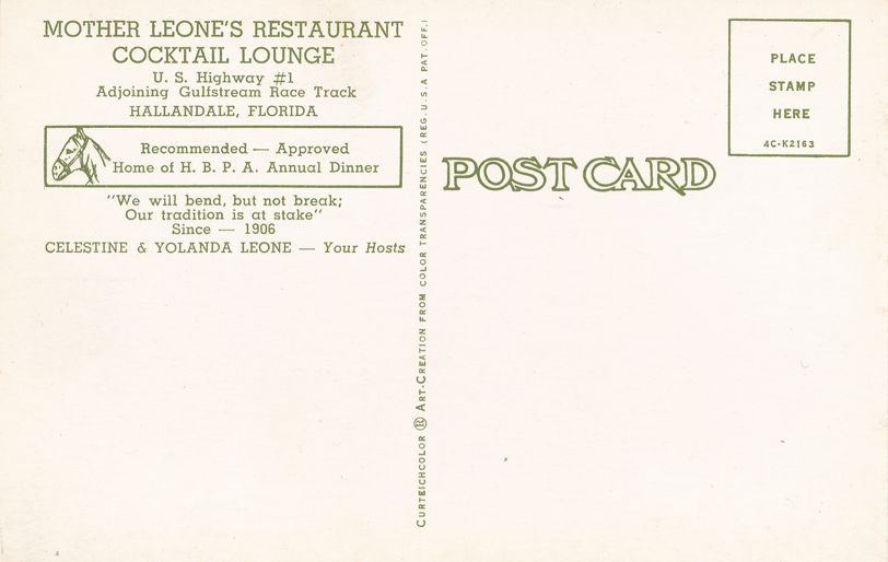 Hallandale, Florida - Mother Leone's Restaurant and Cocktail Lounge
