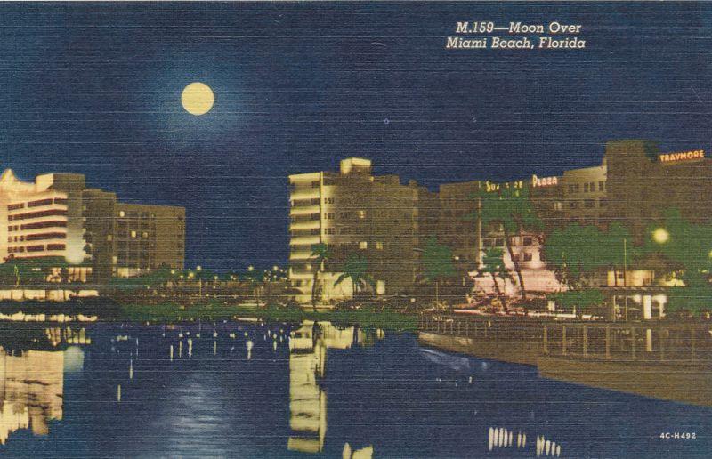 Moon over Miami Beach, Florida - Curteich 1954 - Linen Card