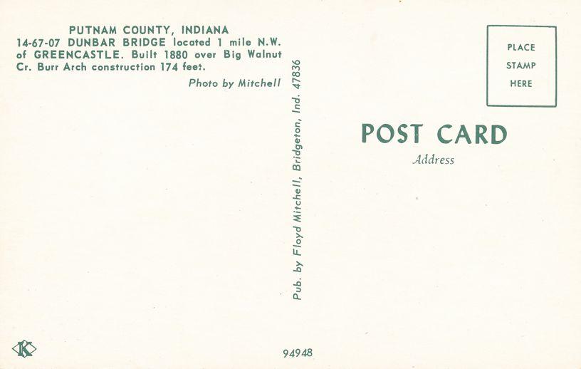 Greencastle, Putnam County, Indiana - Dumbar Covered Bridge