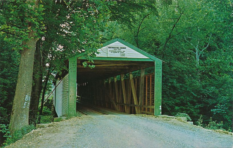Huffman Mill Covered Bridge, Indiana over the Anderson River