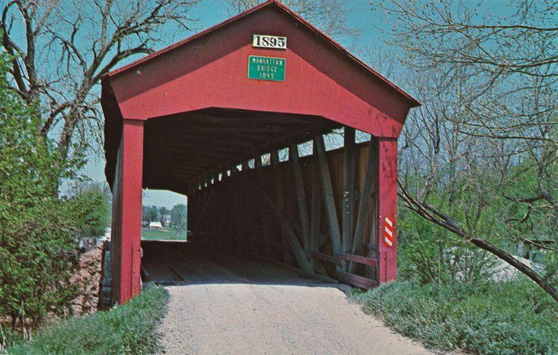 Manhattan, Putnam County, Indiana - Covered Bridge over Deer Creek
