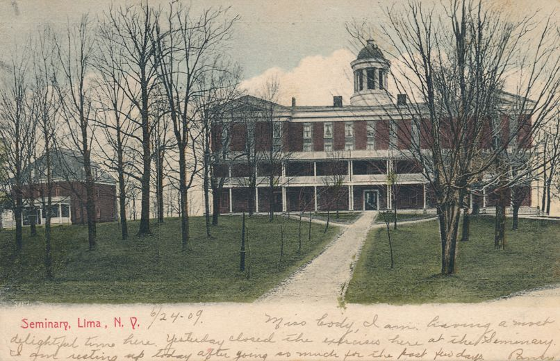 The Seminary at Lima, New York - pm 1909 - PMC - Private Mailing Card