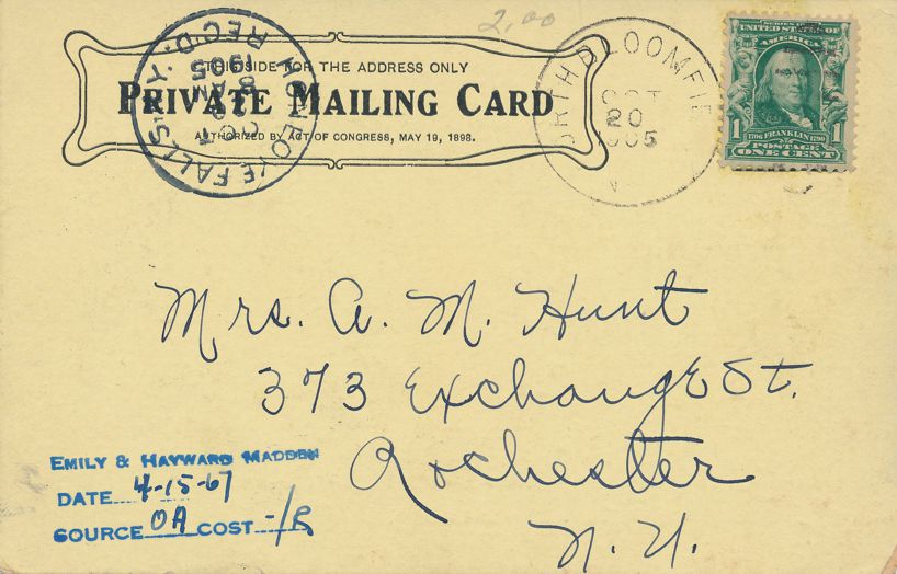 Lima New York No. 2 Failing Hall Genesee Wesleyan Seminary DPO 1905 at North Bloomfield NY - PMC - Private Mailing Card