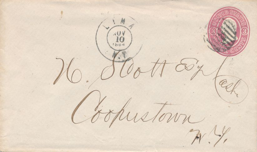 US #U58 Postal Stationery Cover - Lima New York to Cooperstown NY - pm 1864 at Lima NY