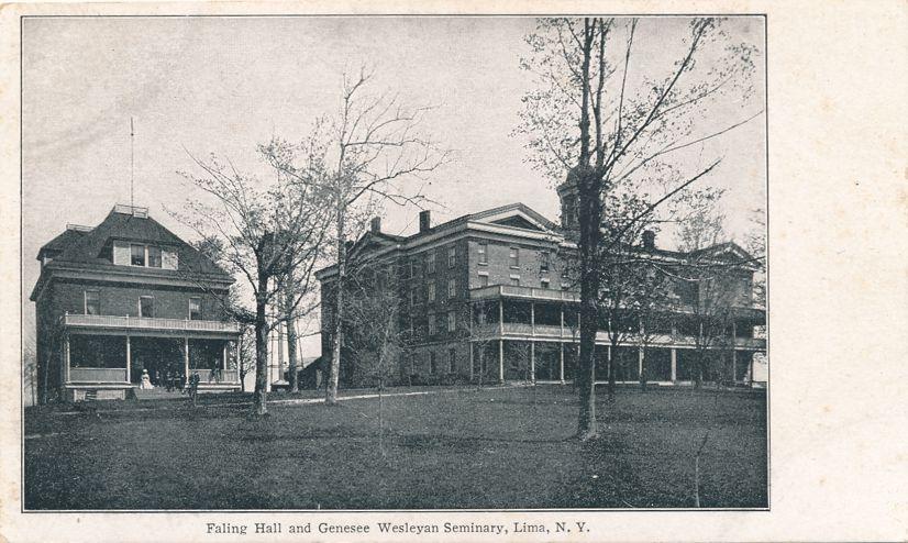 Lima, New York - Sanger Fancy Scroll - Faling Hall at Genesee Wesleyan Seminary - Undivided Back