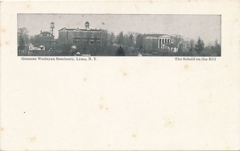 Lima, New York - Genesee Wesleyan and School on the Hill - Divided Back