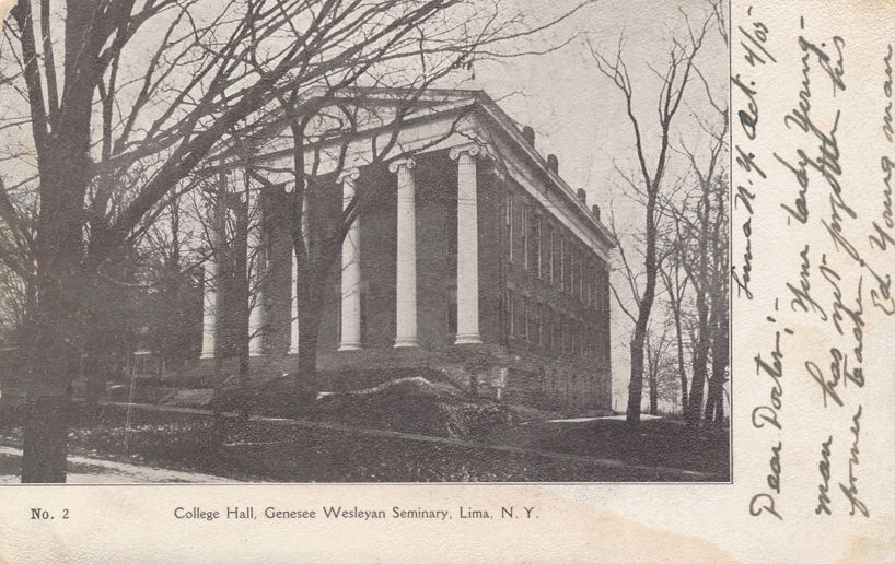 Lima, New York - Genesee Wesleyan Seminary showing College Hall - pm 1905 - Undivided Back