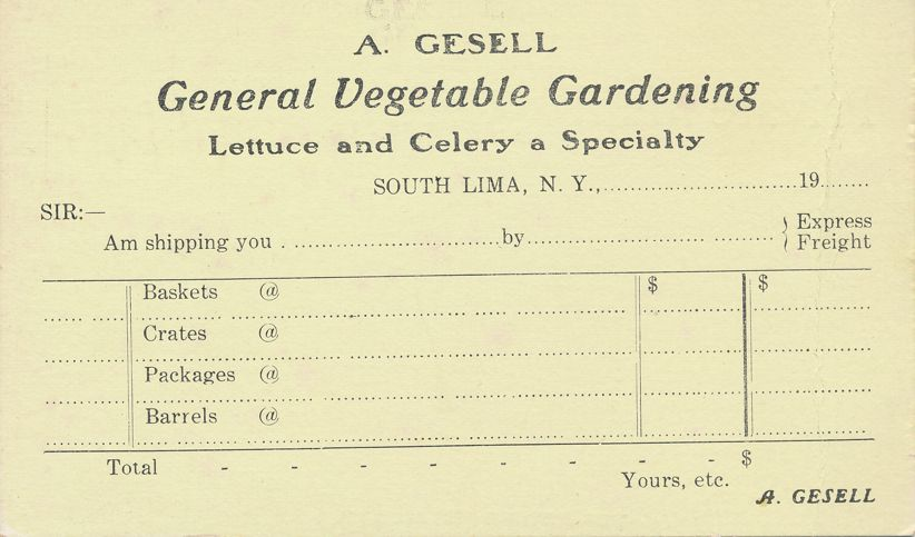 Gesell General Vegetable Gardening Order Form - South Lima, New York - PMC - Private Mailing Card
