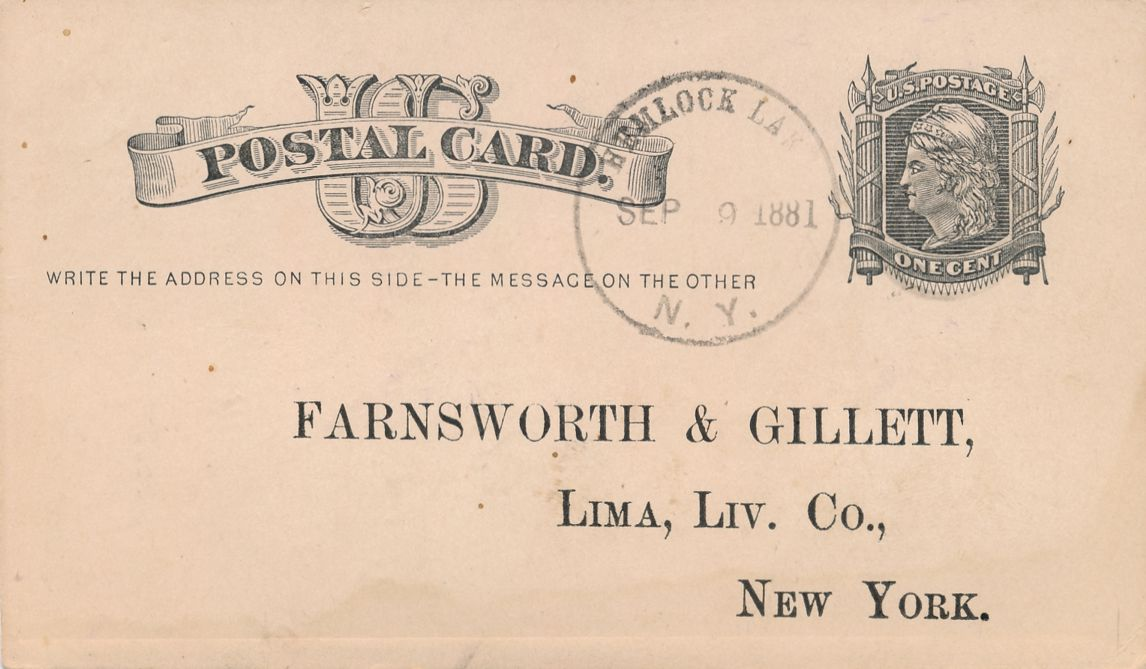 US UX5 Postal Card - Farnsworth & Gillett Soda Order Lima NY - DPO 1881 at Hemlock Lake NY