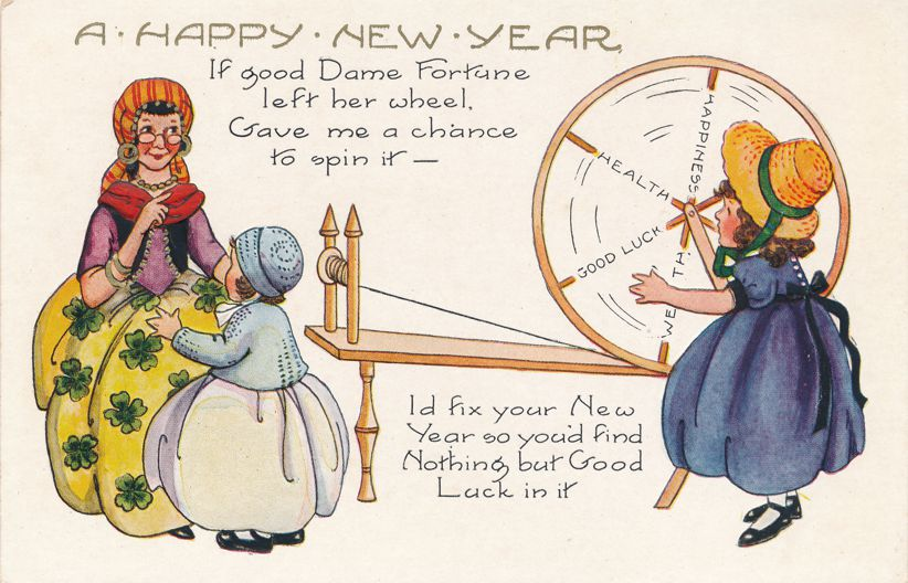 New Years Day Greetings - Dame Fortune Spinning Wheel of Fortune - Whitney Made - Divided Back