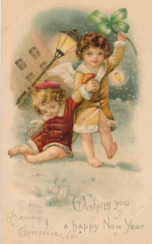 New Years Day Greetings - Cupids Wishing You a Happy New Year - BW - Undivided Back