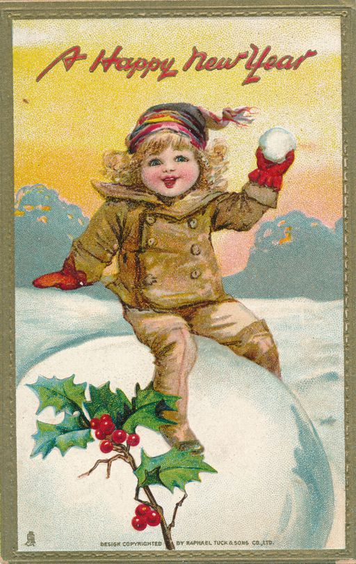 New Years Day Greetings - Snowballs Mistletoe and Holly - pm 1910 at Amadore MI - Divided Back - Tuck