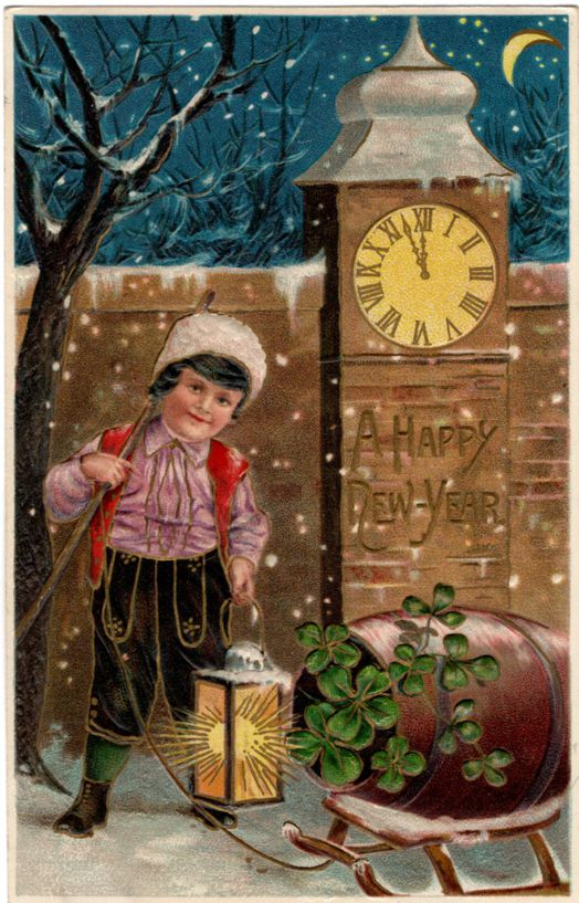New Years Day Greetings - Clock at Midnight - Boy with Lantern - MAB - pm 1909 - Divided Back
