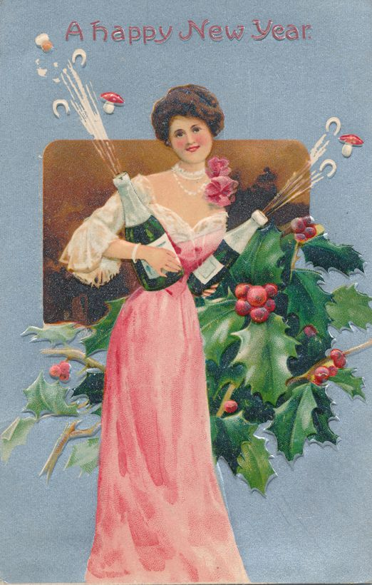 New Years Day Greetings - Lady with Champaign - Holly and Mistletoe - pm 1910 at Callicoon NY - Divided Back