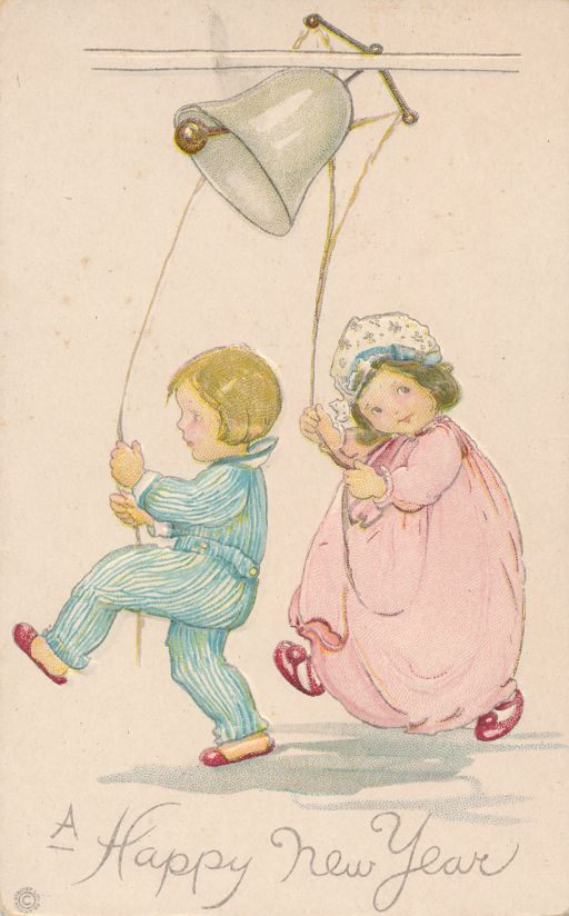 New Years Day Greetings - Boy and Girl Ringing Bell - Stecher Litho - Divided Back