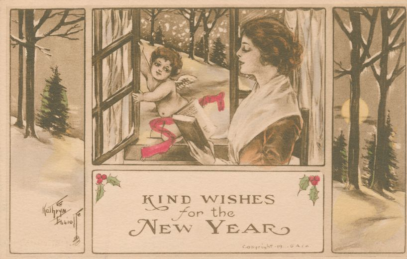 New Years Day Greetings - Kind Wishes - Cupid at Window - a/s Kathryn Elliot - Divided Back