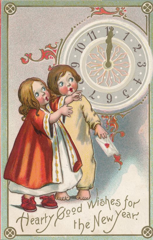 New Years Day Greetings - Hearty Good Wishes - Children at Midnight Clock - pm 1910 at Stanley - Divided Back - Tuck