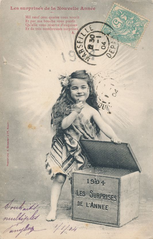 New Years Day Greetings Surprises of Year 1904 Les Surprises de la Nouvelle Annee pm 1904 at Marseille Undivided Back