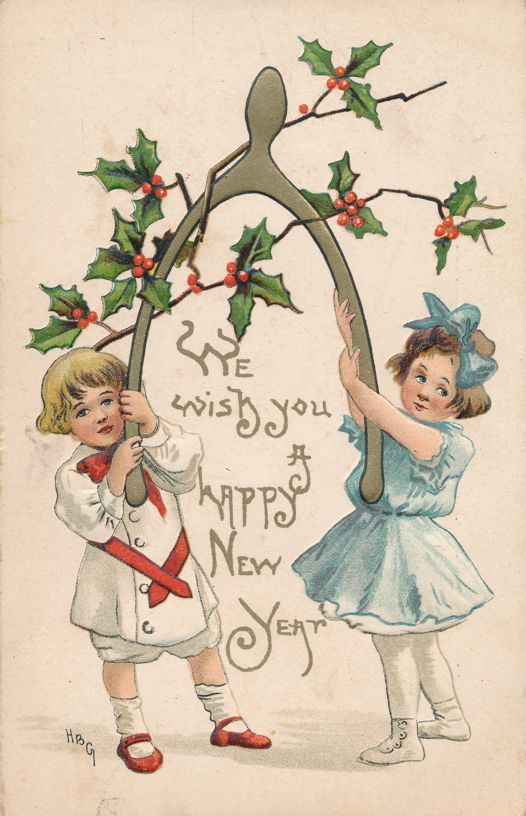 New Years Day Greetings - Children with Wishbone - a/s HBG - Divided Back
