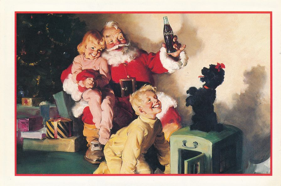 Coca Cola - Sant Claus  - Dog and Children - 1992 Postcard with Attached Coupons
