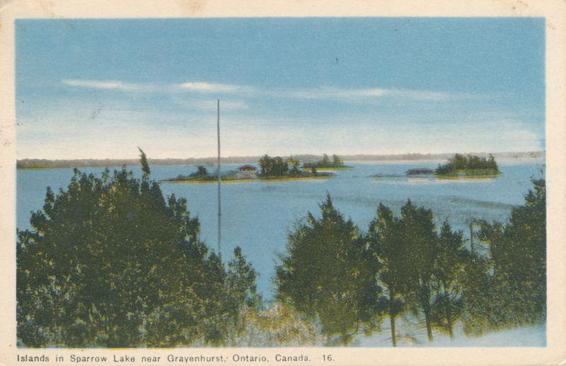 Islands in Sparrow Lake near Gravenhurst, Ontario, Canada - pm 1947 at Klueys Bay