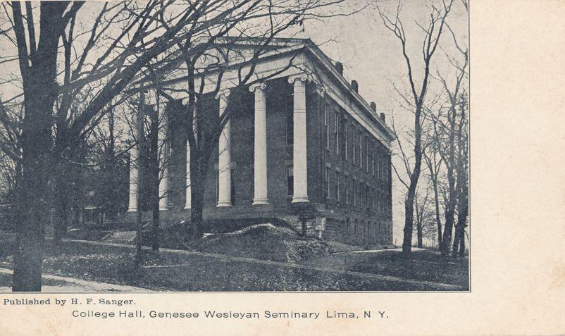 College Hall - Lima, New York - Genesee Wesleyan Seminary - Undivided Back