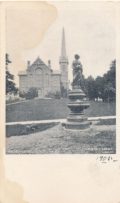 Presbyterian Church at Lima, New York and Fountain - Undivided Back